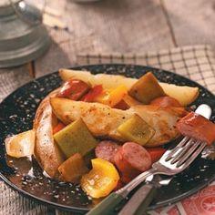 Potato-Sausage Foil Packs Recipe - campfire cooking