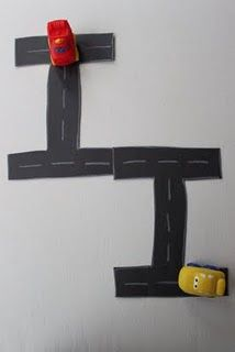 Alphabet roads. Cute way to learn writing letters. Would be great for teaching Handwriting without tears instructions (start your letter at the top) while the child drives the car to the instructions. #alphabet