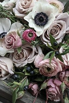 deep, moody blooms ranunculus, color palettes, colors, roses, black white, dusty pink, shade, flowers, floral