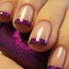 Purple Glitter Tips