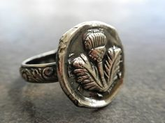 Scottish Thistle Jewelry Wax Seal Ring size 6 by Serrelynda, $78.00