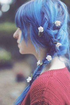 french braids, white flowers, hair flowers, colorful hair, romantic hair, blue hair, hair ties, pastel hair, flower hair
