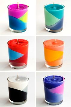 Color block candles made with crayons! #DIY
