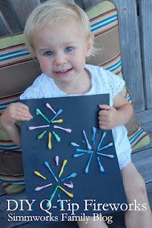 Q-Tip Fireworks - Easy Crafts for Kids