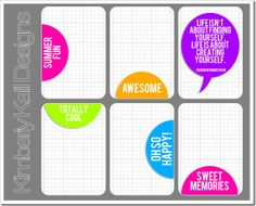 Free summer journal cards for Project Life.