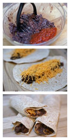Easy after school or lunch idea: Black Bean and Cheese Tacos (4 min and 4 ingredients!!)   5DollarDinners.com
