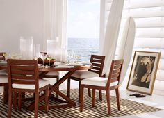 "Ralph Lauren Home Archives, ""Point Dume"", Dining Room, 2014; ""A modern, tranquil interpretation of Ralph Lauren's iconic love of seaside living, featuring rich wood, clean architectural lines and an elegant palette of crisp whites."""