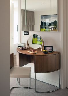 Interior Design Room in Modern Concept: Rounded Wooden Desk Design Idea Equipped With White Wall Interior Design Finished In Modern Design P...
