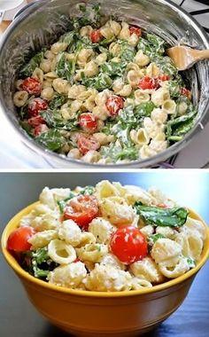{No Mayo} roasted garlic pasta salad Mayo Pasta Salad, Eat Pasta, Garlic Pasta, Spinach Pasta Salad