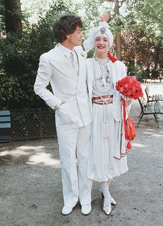 Loulou de la Falaise and Thadee Klossowski on their wedding day - both wearing Yves Saint Laurent