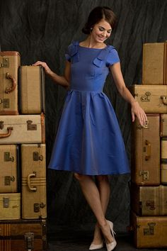 Fit and Flare Icy Blue Bell Dress from Winter Wonderland Collection by Shabby Apple