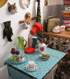 Vintage formica table and other kitsch