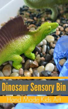 3 Easy Steps to create a Dinosaur Sensory Bin from Hand Made Kids Art kid art, dinosaur sensori, dinosaur art activities, dinosaur sensory bin
