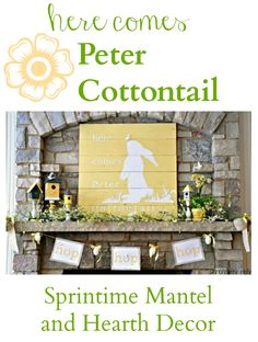 Here Comes Peter Cottontail {Spring Mantel} Pallet Art Decor