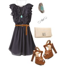"""""""Ruffle Dress"""" by jill-hammel on Polyvore.  Love it with the turquoise jewelry."""