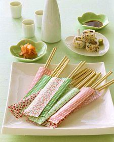 Chopsticks in Paper Pockets