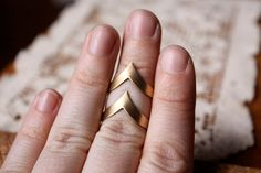 Vintage Chevron Adjustable Brass Rings  Set of by ChristineDomanic