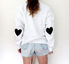 Over sized sweater with heart elbows <3