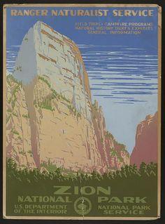 Zion National Park: artist unknown, c. 1938 (Dept. of Interior/National Park Service)