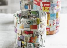 DIY Waste Basket - Paper Weave This DIY waste basket tutorial is for something tiny that you can put on top of a desk or in a craft room. It's very easy to make; in fact, your kids can help you construct them!