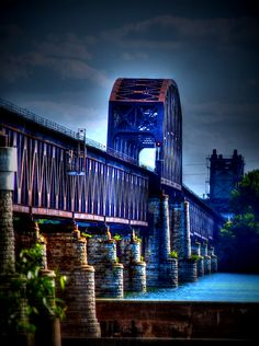 Love photographing this old railroad bridge that still takes trains across the Ohio River.