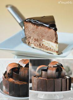 Tarta de mousse de chocolate y panna cotta