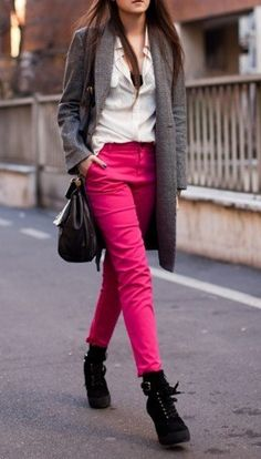 jacket + boots + pop of color.