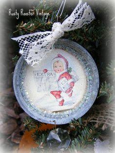 Vintage mason jar lid ornaments
