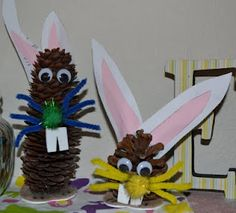 Bunny pinecone craft