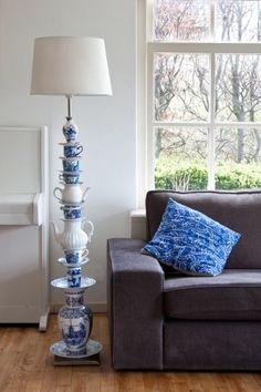 white vase, teapot, white stuff, homemad lamp, blue and white dishes, blues