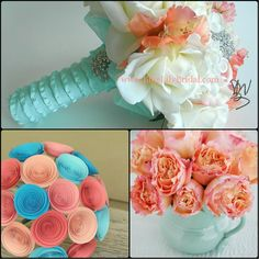 aqua and coral wedding ideas | ... websites top aqua and coral bouquet from blue lily bridal bottom left