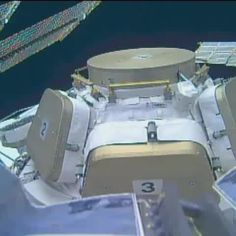 View from the outside in. The robotic arm camera records a #SpaceVine of the exterior of the Cupola on the International Space Station.