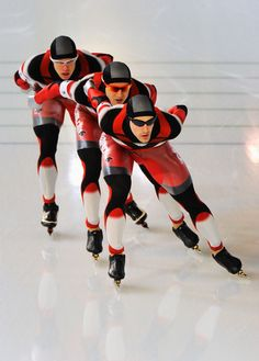 Mathieu Giroux, Lucas Makowsky and Denny Morrison of team Canada compete in the Men's Team Pursuit Speed Skating Quarter-Finals on day 15 of the 2010 Vancouver Winter Olympics at Richmond Olympic Oval on February 26, 2010 in Vancouver, Canada.