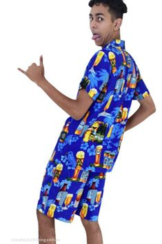 Mens Blue Beer Hawaiian Shirt & Shorts Set aka Cabana Set. Wicked party set for bucks night, pool party, Australia day and more. #hawaiianshirt #hawaiianshirtandshorts #bucks #cabana #cruiseshirts #festivalshirts