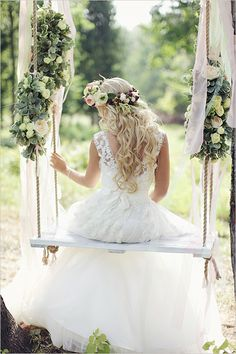 Romantic floral wedding swing