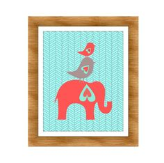 Elephant and Birds Nursery Print, Coral and Aqua- Kids Wall Art, Nursery art, Baby Girl Nursery