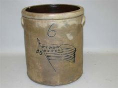 Old Stoneware Crock...American, mid 19th. Century. Freehand cobalt blue American flag and number '6' with two applied handles.