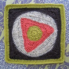 Triangle Tango 12 inch square afghan block free crochet pattern graphic bold