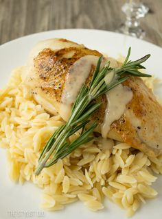 pan-seared chicken with rosemary vin blanc au beurre (white wine + butter sauce)