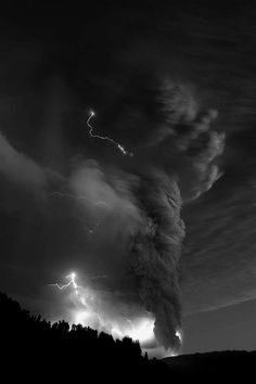 Tangled lightning and clouds.