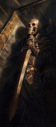 Skeletal warrior in coffin
