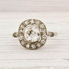 ErstwhileJewelry › Engagement Rings  Antique .70 Carat Old European Cut Diamond Engagement Ring