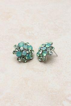 Minty Crystal Cluster Earrings