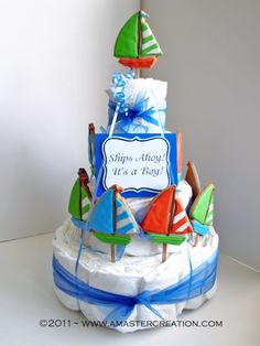 sailboat diaper cake with cookie pops