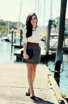 Skirt: J. Crew Shirt: J. Crew. Shoes: Ferragamo. Belt: Milly Necklace: Hazel & Marie. Bag: Coach. Bracelet: Pink Pineapple.