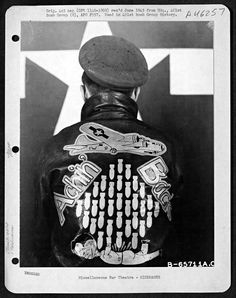 A 401st Bomb Group bomber jacket (June 1945) person leather, air forc, vintage photos, chopperon 44, art, wwii bomber, bomber jackets, leather jackets, bomber crew