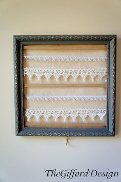 Gray Framed Jewelry Organizer. $15.00, via Etsy. dorm decor, pink dorm, organizers, creativ idea, dorm idea, colleg dorm, apart craft