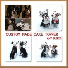 Custom Made Dog Wedding Cake Topper Sculpt Paint from your dog picture