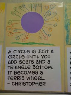 Love this idea for 2d shape- pupils draw a picture around a circle/rectangle etc.- to show how the world is made up of shapes!
