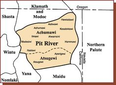 Pit River and neighboring tribal territories, circa 1850